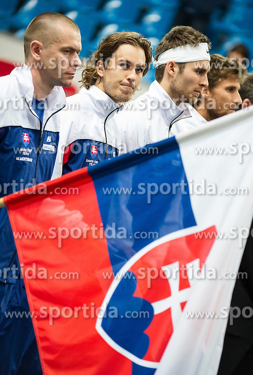04.04.2014, Aegon Arena, Bratislava, SVK, ITF, Davis Cup, Slowakei vs Oesterreich, 2. Runde, Europa-Afrika-Zone I, im Bild Mannschaft Slowakei // Mannschaft Slowakei during the 2nd round of Europe Africa zone one of ITF Davis Cup between Slovakia and Austria at the Aegon Arena in Bratislava, Slovakia on 2014/04/04. EXPA Pictures © 2014, PhotoCredit: EXPA/ Michael Gruber