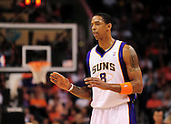 Apr. 1, 2011; Phoenix, AZ, USA; Phoenix Suns forward Channing Frye (8) reacts on the court against the Los Angeles Clippers at the US Airways Center. The Suns defeated the Clippers 111-98. Mandatory Credit: Jennifer Stewart-US PRESSWIRE