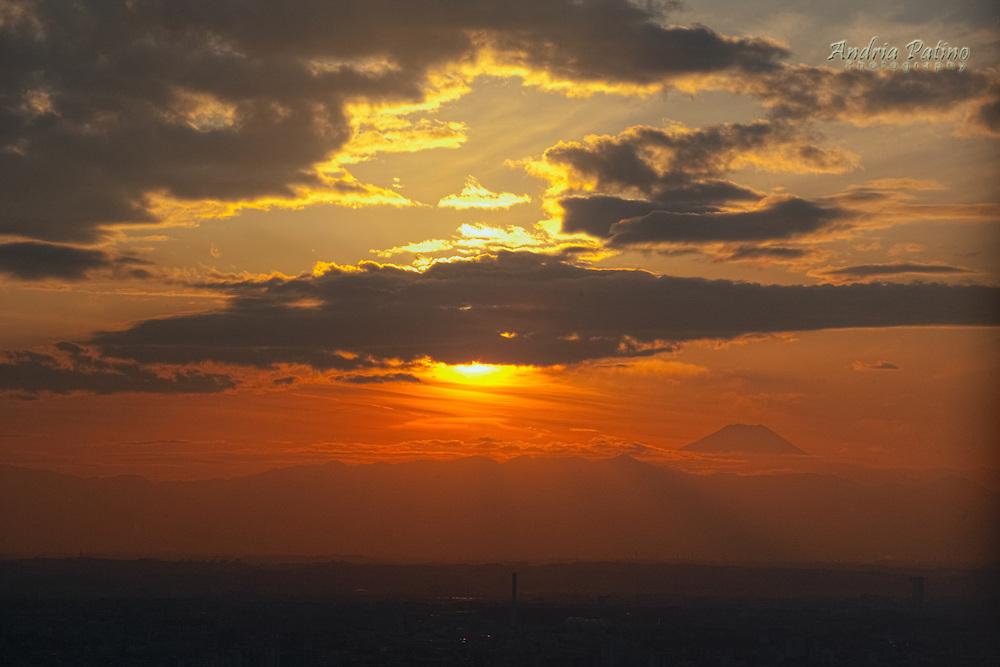 Mount Fuji at sunset, viewed from Tokyo