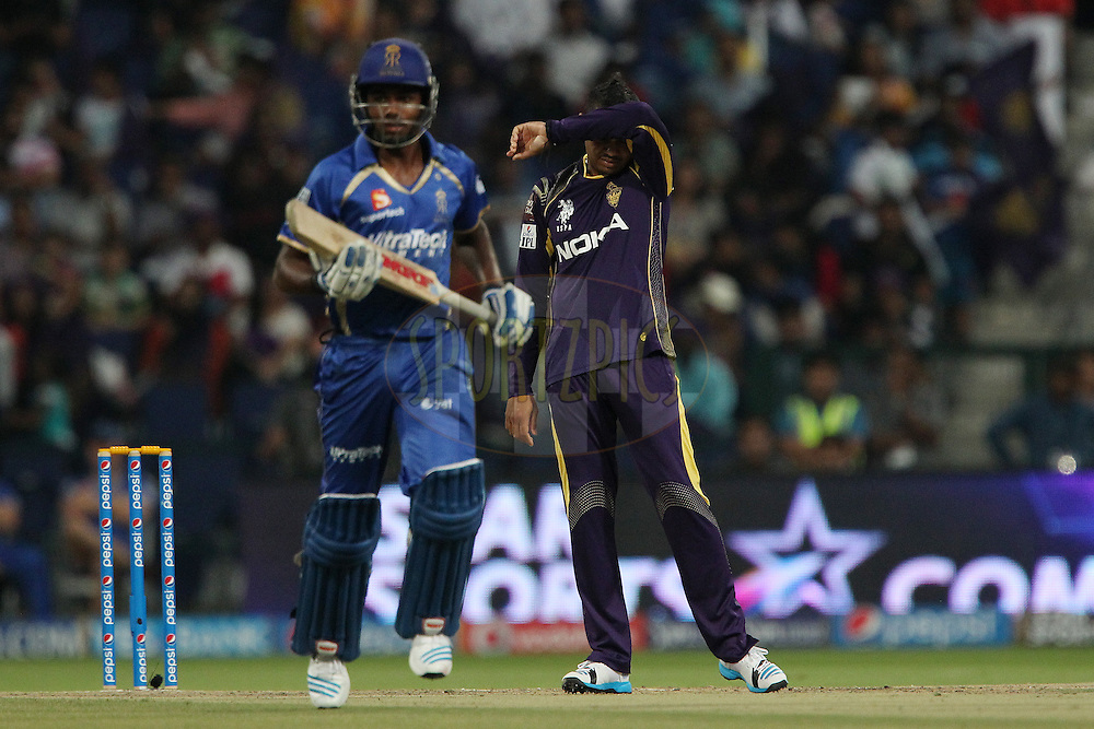 Sunil Narine of the Kolkata Knight Riders during match 19 of the Pepsi Indian Premier League 2014 Season between The Kolkata Knight Riders and the Rajasthan Royals held at the Sheikh Zayed Stadium, Abu Dhabi, United Arab Emirates on the 29th April 2014<br /> <br /> Photo by Ron Gaunt / IPL / SPORTZPICS