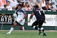 Isaia Toeava of The Blues during the Super15 match between The Mr Price Sharks and The Blues held at Mr Price Kings Park Stadium in Durban on the 26th February 2011..Photo By:  Ron Gaunt/SPORTZPICS