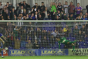 Ryan Brunt equalises for Plymouth during the Johnstone's Paint Trophy match between AFC Wimbledon and Plymouth Argyle at the Cherry Red Records Stadium, Kingston, England on 1 September 2015. Photo by Stuart Butcher.