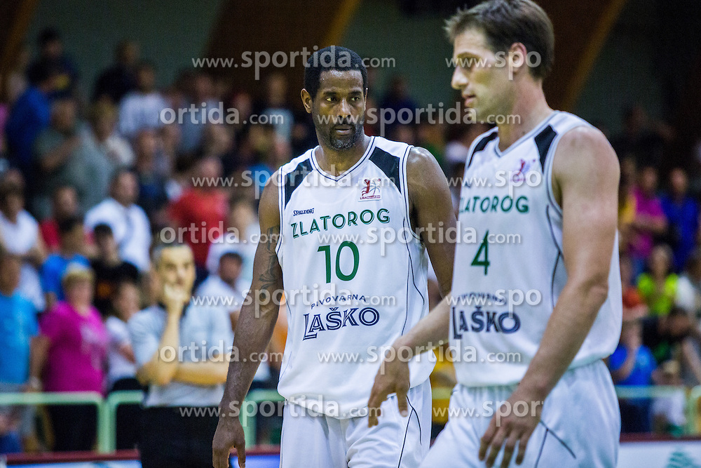 Christopher Booker of KK Zlatorog during basketball match between KK Zlatorog and KK Helios Suns in 1st match of Nova KBM Slovenian Champions League Final 2015/16 on May 29, 2016  in Dvorana Zlatorog, Lasko, Slovenia.  Photo by Ziga Zupan / Sportida