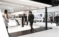 Modern architecture and luxury cars go together well, as shown in this image of a Porsche Display at the North American International Auto Show.