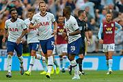 GOAL 1-1 Tottenham Hotspur midfielder Tanguy Ndombele (28) scores and celebrates with Tottenham Hotspur forward Harry Kane (10) during the Premier League match between Tottenham Hotspur and Aston Villa at Tottenham Hotspur Stadium, London, United Kingdom on 10 August 2019.