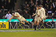 James Haskell (England) dives over in dramatic style for his second try during the RBS 6 Nations Championship match between England and Wales at Twickenham Stadium on February 6, 2010 in London, England.