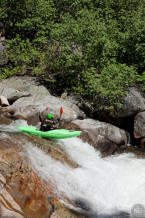"""Kayaker on Silver Creek 25"" - This kayaker was photographed on Silver Creek - South Fork, near Icehouse Reservoir, CA."