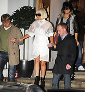 03.NOVEMBER.2010. LONDON<br /> <br /> LADY GAGA LEAVING ABBEY ROAD STUDIOS IN ST.JOHNS WOOD AT 12.45AM, AND HAS TO BE HELPED DOWN THE STAIRS DUE TO THE SIZE OF THE SOLES ON HER BOOTS BEFORE RETURNING BACK TO HER LONDON HOTEL.<br /> <br /> BYLINE: EDBIMAGEARCHIVE.COM<br /> <br /> *THIS IMAGE IS STRICTLY FOR UK NEWSPAPERS AND MAGAZINES ONLY*<br /> *FOR WORLD WIDE SALES AND WEB USE PLEASE CONTACT EDBIMAGEARCHIVE - 0208 954 5968*