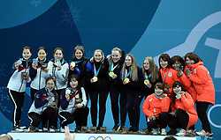 PYEONGCHANG, Feb. 25, 2018  Gold medalist team Sweden (C), silver medalist team South Korea (L) and bronze medalist team Japan pose for photos during medal ceremony of women's curling at the 2018 PyeongChang Winter Olympic Games at Gangneung Curling Centre, Gangnueng, South Korea, Feb. 25, 2018. (Credit Image: © Ma Ping/Xinhua via ZUMA Wire)