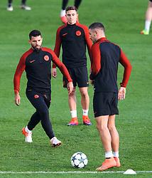 Sergio Aguero of Manchester City trains with Aleksandar Kolarov  - Mandatory by-line: Matt McNulty/JMP - 31/10/2016 - FOOTBALL - City Football Academy - Manchester, England - Manchester City v Barcelona - UEFA Champions League - Group C