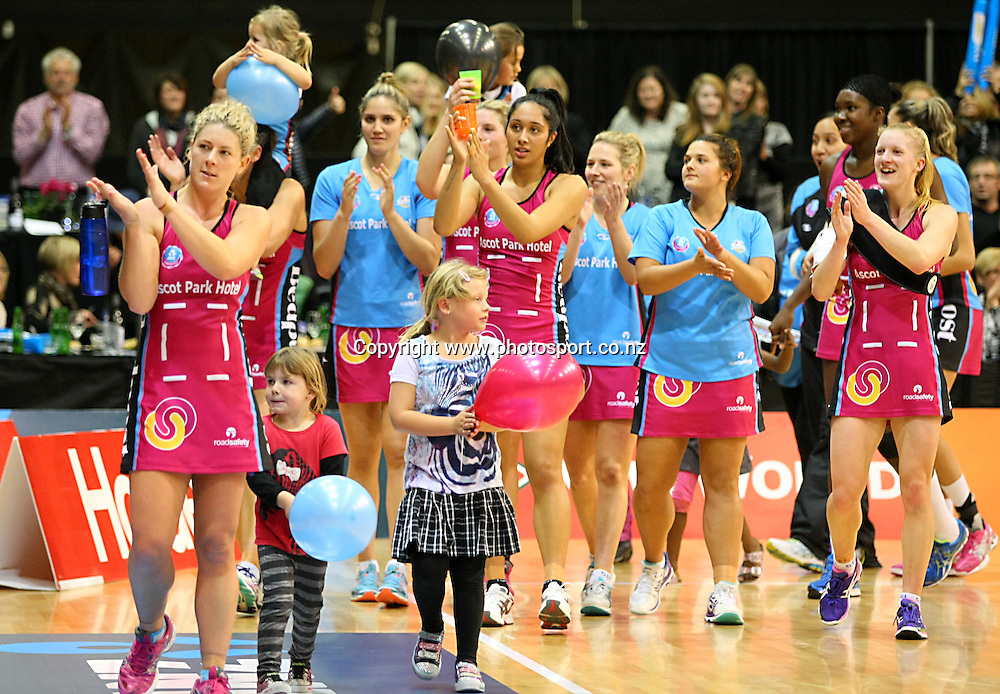 Southern Steel players celebrate their win in the ANZ championship netball match, Steel v Vixens, ILT Stadium Southland, Invercargill, New Zealand, Saturday, May 31, 2014. Photo: Dianne Manson / www.photosport.co.nz
