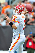Sept. 19, 2010; Cleveland, OH, USA; Kansas City Chiefs quarterback Matt Cassel (7) during the first quarter against the Cleveland Browns at Cleveland Browns Stadium. Mandatory Credit: Jason Miller-US PRESSWIRE