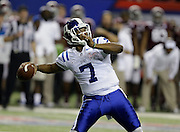 ATLANTA, GA - DECEMBER 31:  Quarterback Anthony Boone #7 of the Duke Blue Devils throws a pass during the Chick-fil-A Bowl game against the Texas A&M Aggies at the Georgia Dome on December 31, 2013 in Atlanta, Georgia.  (Photo by Mike Zarrilli/Getty Images)
