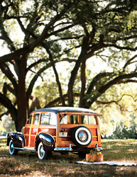1940 Ford Woody Station Wagon with picnic basket