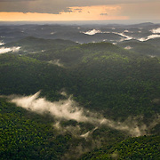 Fog in jungle valleys of Chiquibul forest, Belize