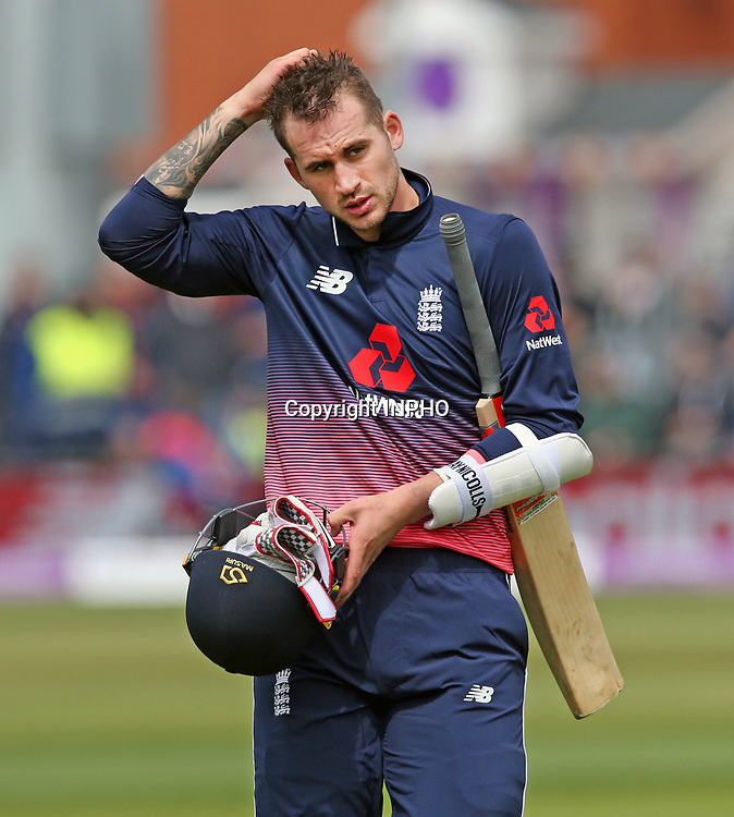 1st One Day International, Bristol Cricket Ground, England 5/5/2017<br /> England vs Ireland<br /> England's Alex Hales after being caught<br /> Mandatory Credit &copy;INPHO/Andrew Fosker
