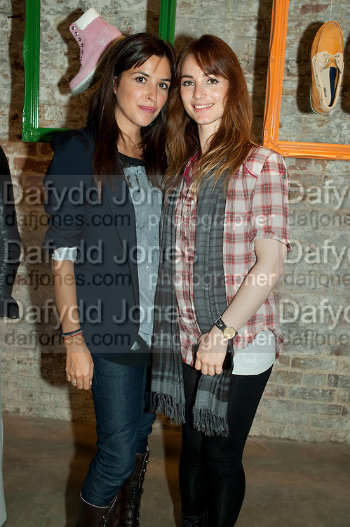 ESTHER LOPEZ RIVA; IRENE DE LA MORAC, Design Your Own Timberland breakfast and Autumn/ Winter 2011 preview. Timberland. 1 Fournier St. London. Followed by an art tour by Julia Royce. 8 June 2011. <br /> <br />  , -DO NOT ARCHIVE-© Copyright Photograph by Dafydd Jones. 248 Clapham Rd. London SW9 0PZ. Tel 0207 820 0771. www.dafjones.com.