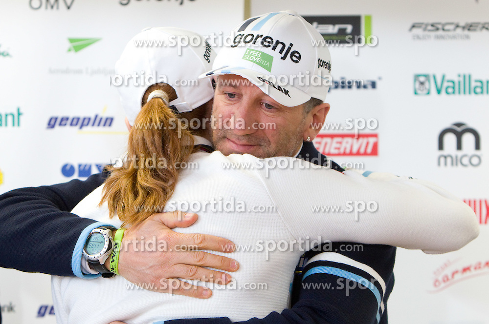 Cross country skier Petra Majdic of Slovenia and her ski service Gian-Luca Marcolini at press conference at the end of her sports career on March 22, 2011 in SZS, Ljubljana, Slovenia. (Photo By Vid Ponikvar / Sportida.com)