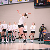 2nd year middle blocker Brooklyn Reynolds (10) of the Regina Cougars in action during Women's Volleyball home game on November 17 at Centre for Kinesiology, Health and Sport. Credit: Arthur Ward/Arthur Images