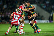 Luther Burrell of Northampton Saints (right) attacking during the Aviva Premiership match at Franklin's Gardens, Northampton<br /> Picture by Andy Kearns/Focus Images Ltd 0781 864 4264<br /> 05/09/2014