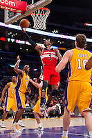 22 March 2013: Guard (2) John Wall of the Washington Wizards lays the ball up against the Los Angeles Lakers during the second half of the Wizards 103-100 victory over the Lakers at the STAPLES Center in Los Angeles, CA.
