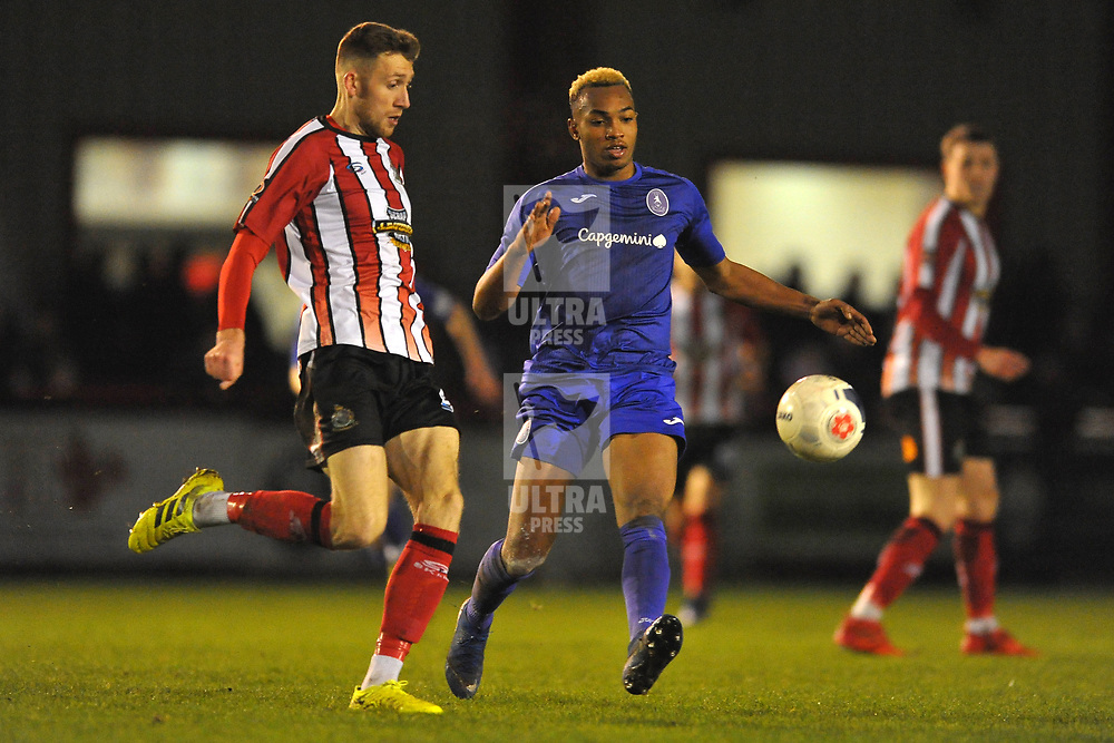 TELFORD COPYRIGHT MIKE SHERIDAN Marcus Dinanga of Telford closes down James Jones during the Vanarama Conference North fixture between AFC Telford United and Altrincham at The J Davidson Scrap Stadium (Moss lane) on Tuesday, February 4, 2020.<br /> <br /> Picture credit: Mike Sheridan/Ultrapress<br /> <br /> MS201920-045
