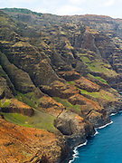 Aerial view of the Na Pali coast, Kauai, Hawaii on a cloudy day.