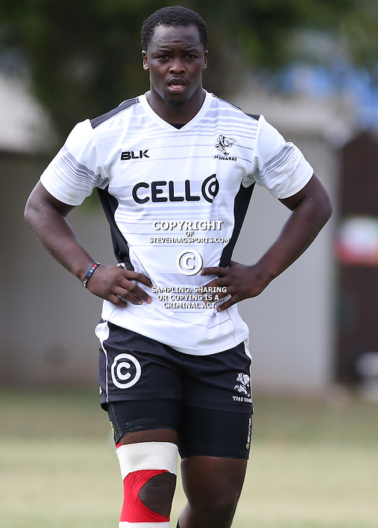 DURBAN, SOUTH AFRICA - JANUARY 27: Lubabalo Tera Mtembu during the Cell C Sharks training and interview session at Growthpoint Kings Park on January 27, 2015 in Durban, South Africa. (Photo by Steve Haag/Gallo Images)