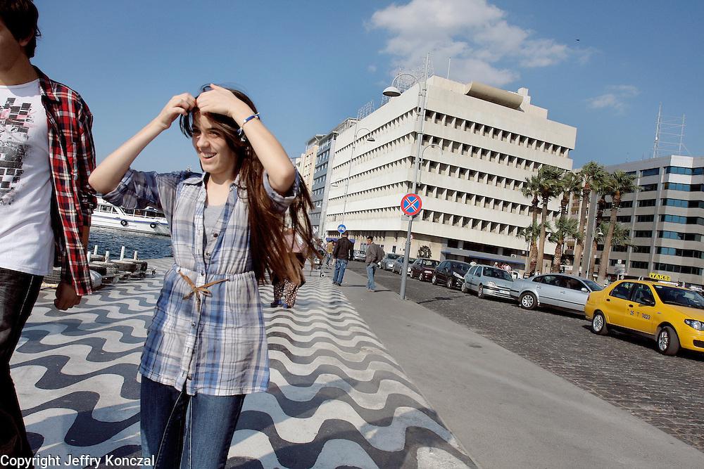 A girl along Passaport walkway in Izmir, Turkey.