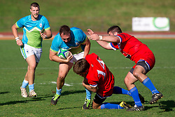 during rugby match between National team of Slovenia (green) and Serbia (red) at EUROPEAN NATIONS CUP 2012-2014 of C group 2nd division, on October 18, 2014, at ZAK Stadium, Ljubljana, Slovenia. (Photo by Matic Klansek Velej / Sportida.com)
