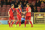 York City forward, on loan from Oldham Athletic, Rhys Turner celebrates York City equaliser during the Sky Bet League 2 match between York City and Oxford United at Bootham Crescent, York, England on 29 September 2015. Photo by Simon Davies.