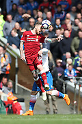 Liverpool defender Alberto Moreno (18) during the Premier League match between Liverpool and Stoke City at Anfield, Liverpool, England on 28 April 2018. Picture by Craig Galloway.