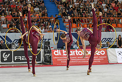 July 28, 2018 - Chieti, Abruzzo, Italy - Rhythmic gymnastics team of Ukraine performs its 5 hoops routine during the Rhythmic Gymnastics pre World Championship Italy-Ukraine-Germany at Palatricalle on 29th of July 2018 in Chieti Italy. (Credit Image: © Franco Romano/NurPhoto via ZUMA Press)