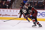 Nov 5, 2013; Glendale, AZ, USA; Phoenix Coyotes defensemen Zbynek Michalek (4) and forward Jordan Szwarz (29) in action against the Vancouver Canucks in the first period at Jobing.com Arena. The Coyotes defeated the Canucks 3-2 in an overtime shoot out. Mandatory Credit: Jennifer Stewart-USA TODAY Sports