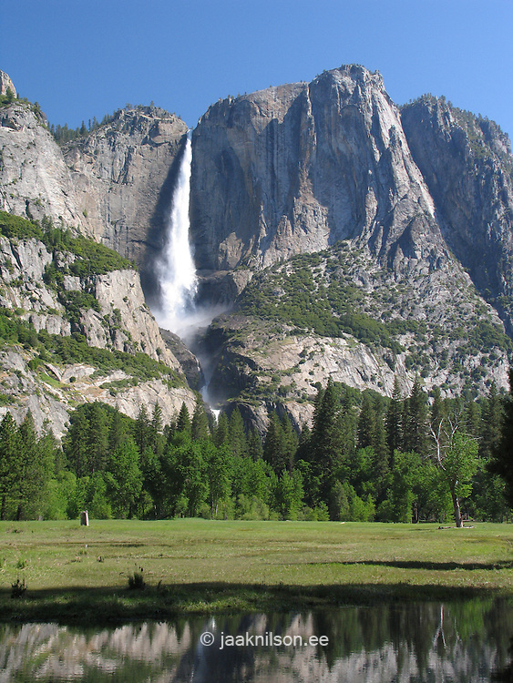 Upper Yosemite Waterfall and Valley Floor Meadow, Yosemite National Park, Sierra Nevada Mountains, California, USA