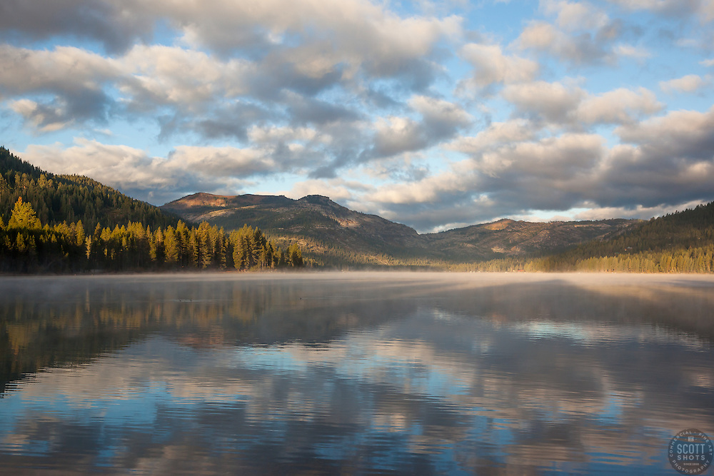"""""""Donner Lake Morning 9"""" - Donner Lake and Donner Summit photographed from the East end of the lake, also know as """"dog beach""""."""