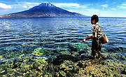 A boy fishes in an idyllic location on Lembata Island, Indonesia.