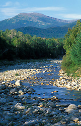 White Mountain national Forest.  View of Mt. Washington and the rocky Peabody River from NH Route 16. Gorham, NH