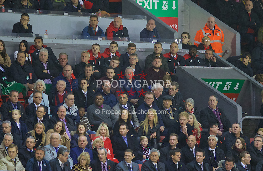 LIVERPOOL, ENGLAND - Sunday, November 8, 2015: Liverpool's former captain Steven Gerrard in the Director's Box along side captain Jordan Henderson, Jon Flanagan, Jordan Rossiter, Jose Enrique, Kolo Toure and Ian Dunbavin in action against Crystal Palace during the Premier League match at Anfield. (Pic by David Rawcliffe/Propaganda)