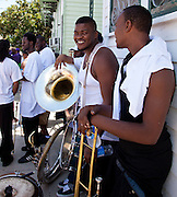 Satchmo SummerFest second line parade at Saint Augustine Church on St. Claude Avenue in the Treme neighborhood