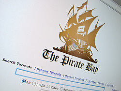 Detail of file sharing website The Pirate Bay  homepage