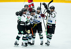Players of HDD Olimpija celebrate after scoring first goal for Olimpija during ice-hockey match between HDD SIJ Acroni Jesenice and HDD Telemach Olimpija in 4th leg of Finals of Slovenian National Championship 2014/15, on April 15, 2015 in Arena Podmezakla, Jesenice, Slovenia. Photo by Vid Ponikvar / Sportida