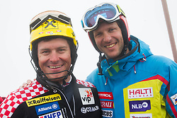 Ivica Kostelic and Andrej Jerman during last race of A.  Jerman, Slovenian best downhill skier when he finished his professional alpine ski career on April 6, 2013 in Krvavec Ski resort, Slovenia. (Photo By Vid Ponikvar / Sportida)