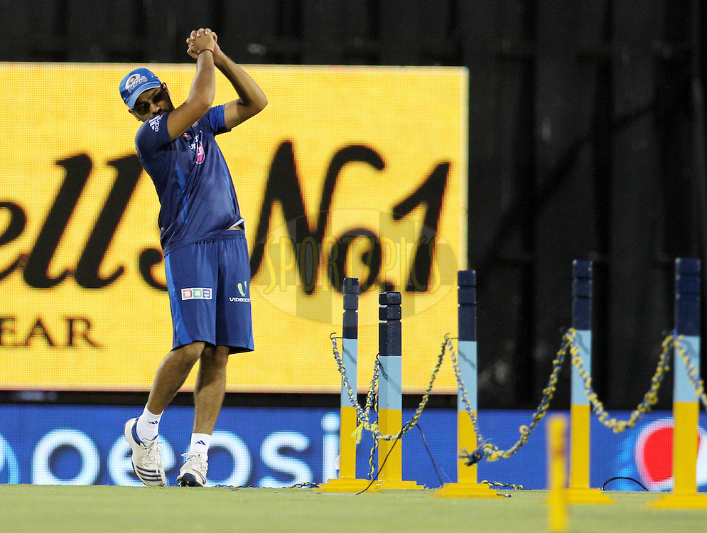 Rohit Sharma captain of the Mumbai Indians before the eliminator match of the Pepsi Indian Premier League Season 2014 between the Chennai Superkings and the Mumbai Indians held at the Brabourne Stadium, Mumbai, India on the 28th May  2014<br /> <br /> Photo by Vipin Pawar / IPL / SPORTZPICS<br /> <br /> <br /> <br /> Image use subject to terms and conditions which can be found here:  http://sportzpics.photoshelter.com/gallery/Pepsi-IPL-Image-terms-and-conditions/G00004VW1IVJ.gB0/C0000TScjhBM6ikg