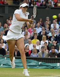 Wimbledon Tennis Championships.<br /> Laura Robson of Great Britain during the singles second round match with Colombian player Mariana Duque Marino at Centre Court on day 5 of The All England Lawn Tennis Club, Wimbledon, United Kingdom<br /> Friday, 28th June 2013<br /> Picture by Andrew Parsons / i-Images