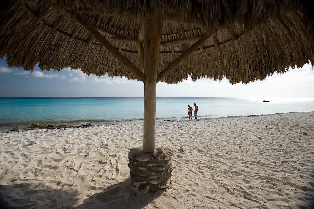 Palapa on beach, Curacao, Netherlands Antilles