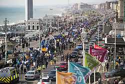 © Licensed to London News Pictures . 24/09/2017. Brighton, UK. Hundreds of people take part in a Stop Brexit march and rally passed the Brighton Centre where the Labour Party are holding their annual conference . Protesters won't the results of the EU exit referendum to be nullified . The first day of the Labour Party Conference in and around The Brighton Centre . Photo credit: Joel Goodman/LNP