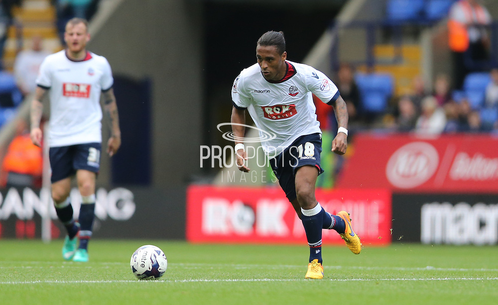 Bolton Wanderers midfielder Neil Danns breaks forward during the Sky Bet Championship match between Bolton Wanderers and Brighton and Hove Albion at the Macron Stadium, Bolton, England on 26 September 2015.