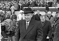 President of Ireland Dr Patrick Hillery at the Ireland Vs Wales in Lansdowne Road, 05/03/1988 (Part of the Independent Newspapers Ireland/NLI Collection).