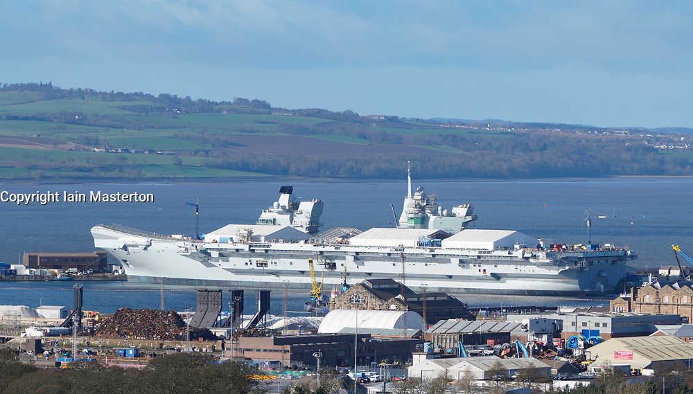 19 Feb, 2019. Royal Navy HMS Prince of Wales aircraft Carrier under construction at Babcock Marine shipyard at Rosyth Dockyard in Fife, Scotland, UK
